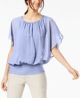 JM Collection Womens Plus Size 3X Flutter Sleeve Top Soft Iris Purple Blouse 372
