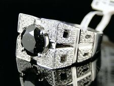 14K New Mens White Gold Black Diamond Ring Solitaire Band Pinky Ring 3.25 Ct