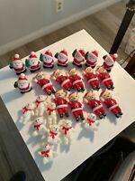 "Vintage Blow Mold Christmas Ornaments  Santa""s.and Bears Lot of 25"