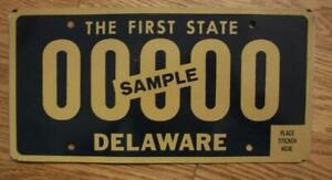SINGLE DELAWARE LICENSE PLATE - SAMPLE - THE FIRST STATE