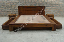 Wooden Storage King Size Bed with 2 side drawers & 2 matching bedside cabinet