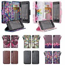 HTC Desire 555, Desire 550, 530 Faux Leather Wallet Case Cover w Kickstand/Slots