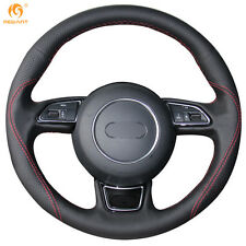 Black Genuine Leather Steering Wheel Cover Wrap for Audi A4L A1 A3 A5 A7