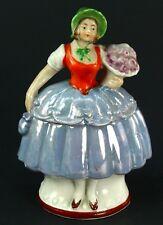! Antique RARE Victorian Conta & Boehme German Luster Porcelain Fairing Box Lady