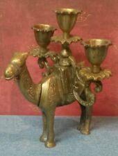 Vintage Brass Camel Figure Candelabrum/3 Arm Candle Holder