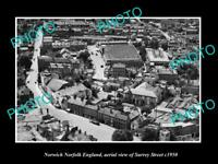 OLD POSTCARD SIZE PHOTO NORWICH NORFOLK ENGLAND AERIAL VIEW OF SURREY ST c1950