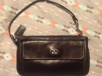 Coach Black Leather Wristlet /Wallet Preowned