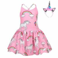 Girls Unicorn Dress Flared Unicornio Summer Rainbow Clouds Princess Sundress