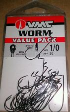 VMC Value Pack Worm Hooks sz 1/0 Qty. 25 Bass Fishing Resin Closed Eye