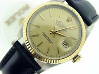 Rolex Datejust Mens 2Tone 18K Gold Stainless Steel Black w/ Champagne Dial 16013