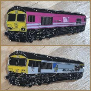 Set of 2 - Class 66 (ONE / GB Railfreight) Enamel Brooch Pin Badge