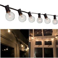 25ft 25x Clear Bulbs Weatherproof Globe String Festoon Lights G40 Indoor Outdoor