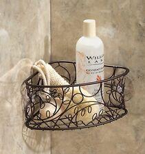 Bronze Shower Caddy Suction Cup Metal Corner Basket Bathroom Organizer Bath Rack