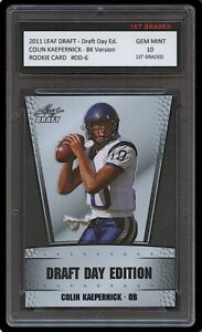 COLIN KAEPERNICK 2011 LEAF DRAFT DAY BLACK ED 1ST GRADED 10 ROOKIE CARD RC NFL