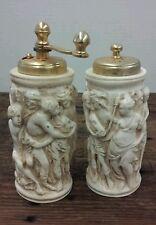 Vintage Italian carved salt shaker and pepper grinder Made in Italy Artistic