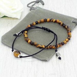 Handmade Natural Set Of 2 Tigers Eye Gemstone Bracelets & Velvet Pouch.