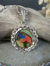 9/11 United We Stand American Flag .999 Fine Silver Pendant Chain Necklace #560