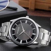 Fashion Men Crystal Stainless Steel Watch Analog Quartz Wrist Watch Bracelet_q