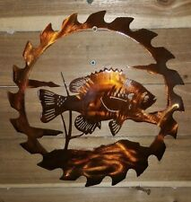 "16"" Fish in Saw Blade WALL ART. CNC PLASMA Metal DECOR"