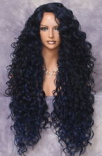 1Human Hair Blend Full Lace Front wig Long Curly Blue Black Mix Heat OK DOM