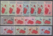 MADAGASCAR : SERIE POSTE AERIENNE AVION & CARTE N° 25/40 NEUVE * GOMME CHARNIERE