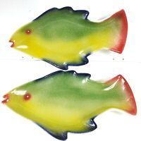 "Set of 2 ANCORA 16"" Hand painted Italian Ceramic Rainbow Fish Dishes Trays"
