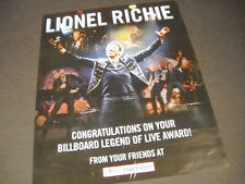 Lionel Richie Billboard Legend Of Live Award 2014 Promo Poster Ad mint condition