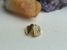Antique Mother Of Pearl Rhinestone Gold Filled Locket HFB Sign Pendant Charm