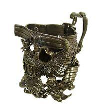 Brass Casting Glass Holder Podstakannik w/glass GIFT SET Russian Imperial Eagle