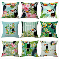 Lovely Toucan Bird Leaves Throw Pillow Case Sofa Cafe Cushion Cover Home Decor