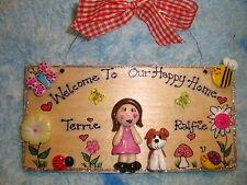 3d personalizzato 2 caratteri famiglia Playhouse Wendy Casa Giardino riparto sign
