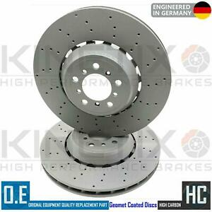FOR BMW M3 F80 FRONT LEFT RIGHT DRILLED BRAKE DISCS 34112284809 & 34112284810