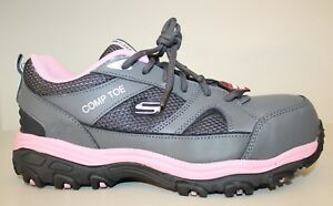 Skechers Womens Gray / Pink Leather Comp Toe Oxfords Work Shoes Sz 8
