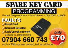RENAULT MEGANE SCENIC LAGUNA REPLACEMENT spare KEY CARD SERVICES , 24 HOUR 7 DAY