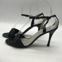 Giorgio Armani Black Beaded Ankle Strap Heels Size 9