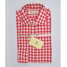 100% new LUIGI BORRELLI shirt red pink white check 39  -151/2 genuine 160192
