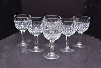 SET 6 Stuart Clifton Park Crystal Wine Glasses Goblet stems Thumbprint Vertical
