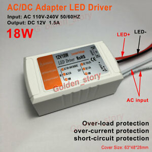 Mini AC-DC Power Converter AC110V 120V 220V 230V to DC12V 18W LED Driver Adapter