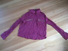 LADIES CUTE DEEP PINK LONG SLEEVE VISCOSE CROP TOP BY CHICA BOOTI - SIZE 10