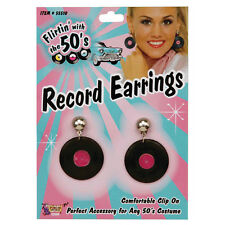 Pendientes de registros de vinilo negro 1950S Fancy Dress Costume Prop Joyas