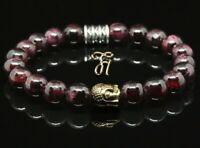 Granat rot Armband Bracelet Perlenarmband Buddhakopf gold 8mm