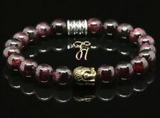 Garnet Red Bracelet Pearl Bracelet Buddha Head Gold 8mm
