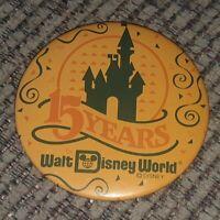 Walt Disney World 15 years Disney Pin 1980s large round MICKEY MOUSE vintage