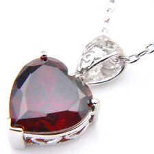 Florid Sweet Heart Fire Garnet Cubic Zirconia Silver Pendants Necklaces