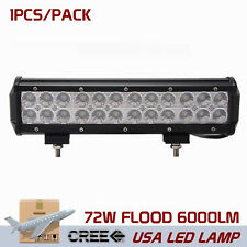 12inch 72W Cree Led Work Light Bar Flood Boat Driving Lamp Offroad 4WD Auto Ford