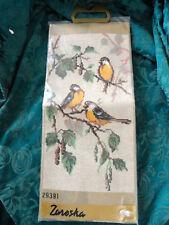 Zareska Vintage Needlepoint Kit 3 Robin Red Breast in a tree w/ wool yarn