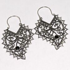 "Plated Earrings 2.1"", Ab4425 Black Onyx 925 Silver"