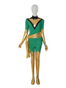 Jean Grey Phoenix Deep Green Spandex Cosplay Costume