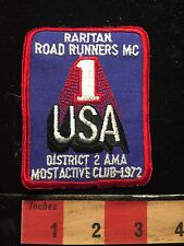 Motorcycle Biker Patch RARITON ROADRUNNERS MC #1 Most Active Club 1972 NJ 67WH