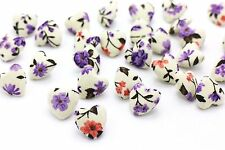Purple Flower Heart Shape Fabric Shank Mix Button Coat Baby Children 15mm 20pcs